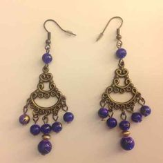 Pretty chandelier earrings with purple beads