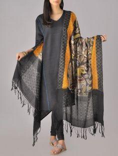 Kalamkari Ikat Cotton Dupatta Indian Attire, Indian Wear, Indian Dresses, Indian Outfits, Salwar Designs, Desi Wear, Boho Look, Bollywood Fashion, Couture