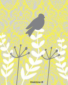 Yellow and Gray Wall Decor Set Set of Two 8x10 Art by Freshline