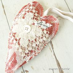 fabric and lace heart by A Sweet Reverie - Primitive Shabby Chic Valentine Hanging Heart of Belgian Linen and Vintage Lace