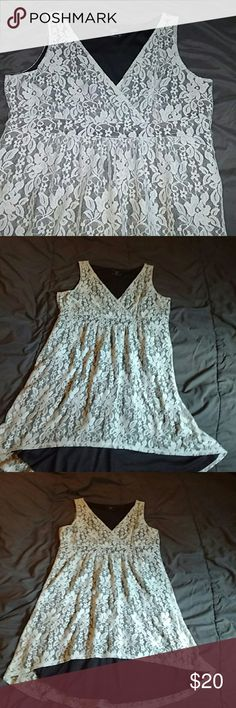 Cute lace high low dress Grey with black lining.  Worn once. Mac & Jac Dresses High Low