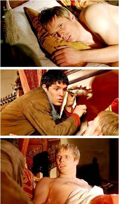 That's the show. Arthur is shirtless, Merlin is in Arthur's room to stare at him I MEAN doing weird stuff and Arthur is. Weirded out. It's Over Now, Merlin Fandom, Prince Arthur, Merlin Cast, Merlin And Arthur, Bradley James, Bbc Tv, Colin Morgan, Superwholock