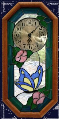 butterfly and flowers pendulum clock