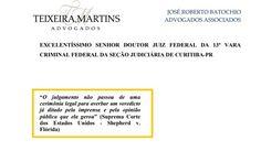 Capa do embargo à sentença ridícula do Moro