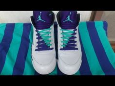Jordan 5 Grapes Lacing Tutorial - double laces, V-pattern and Criss-cross - YouTube
