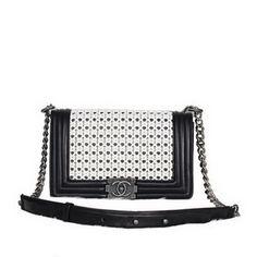 Wholesale Réplique 2013 Boy Chanel Flap Sac à bandoulière en cuir A6011 Weave Wh - €223.73 : réplique sac a main, sac a main pas cher, sac de marque   chanel boy