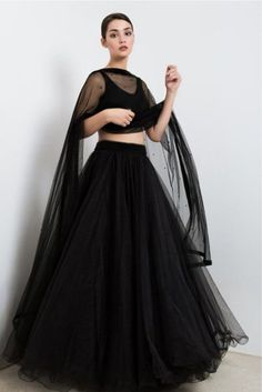The Stylish And Elegant Lehenga Choli In Black Colour Looks Stunning And Gorgeous With Trendy And Fashionable Beads. The Tulle Fabric Party Wear Lehenga Choli Looks Extremely Attractive And Can Add C. Indian Gowns Dresses, Indian Fashion Dresses, Dress Indian Style, Indian Designer Outfits, Pakistani Dresses, Dress Fashion, Fashion Outfits, Lehenga Choli, Lehnga Dress