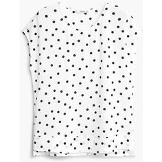 Polka-Dot Blouse ($45) ❤ liked on Polyvore featuring tops, blouses, side slit top, mango tops, short sleeve tops, short sleeve blouse and white top