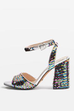 9bb208ee198 REACTION Sequin Embellished Block Heel Sandals Sandals For Sale