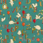 Keiki Mind Your P's and Q's ABC Critters Teal [MODA-32712-14] - $8.95 : Pink Chalk Fabrics is your online source for modern quilting cottons and sewing patterns., Cloth, Pattern + Tool for Modern Sewists