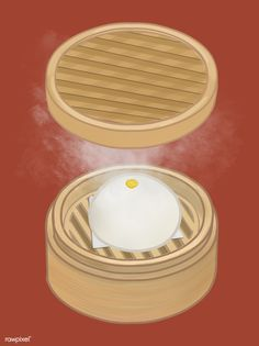 Chinese steamed bun in a basket illustration | free image by rawpixel.com