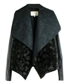 Black Faux Fur Big Lapel Coat. LOVE IT