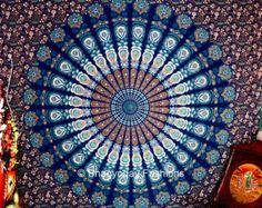 Indian Peacock Deep Blue Hippie Hippy Boho Meditation Mandala Tapestries Tapestry Wall Hanging Indian Wall Art By Bhagyoday Bohemian Bedspread, Bohemian Tapestry, Mandala Tapestry, Hippie Tapestries, Hippie Boho, Wall Sheets, Indian Wall Art, Indian Peacock, Indian Tapestry