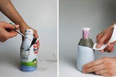 Betonvase Flasche Kerzenständer DIY Anleitung