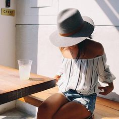 "♡ Summer Style - Striped off the shoulder top with distressed shorts and a wide brim fedora - If you like my pins, please follow me and subscribe to my fashion channel on youtube! (It's free) Let me help u find all the things that u love from Pinterest! <a href=""https://www.youtube.com/channel/UCCP8TXebOqQ_n_ouQfAfuXw"" rel=""nofollow"" target=""_blank"">www.youtube.com/...</a>"