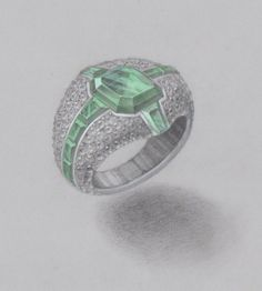 Green cross ring / pencil and water color by WOOAKIM