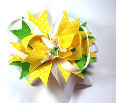 Boutique Tinkerbell Princess Inspired Resin Hair Bow Clip by prettybowtique on Etsy