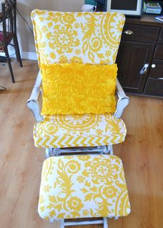 Update a Nursery Glider Rocking Chair. have the chair. now who can upholster? Rocking Chair Nursery, Rocking Chair Cushions, Diy Chair, Rocking Chairs, Glider Cushions, Glider Chair, Glider Rockers, Glider Redo, World Market Dining Chairs