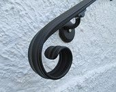 4 Ft. Wrought Iron Hand Rail Wall Rail Stair Step Railing Wall Mount Handrail Elegant Scroll Design