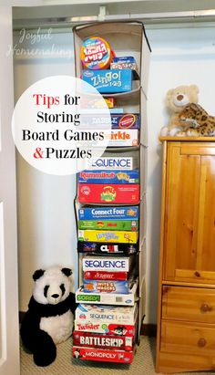 If you enjoy board games or have kids who enjoy board games, you know that the games and puzzles and toys, and lions and tigers and bears, OH MY… well, you know, they pile up quickly, and it sure helps to have an organized and tidy way to store them. When my kids were little …