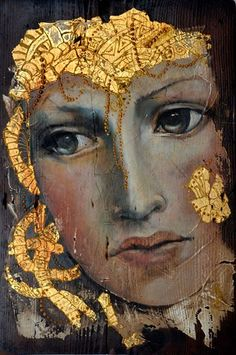 "Photo from album ""Художница Angela Betta Casale. Feuille D'or, Encaustic Art, Gold Art, Leaf Art, Woman Painting, Female Portrait, Face Art, Betta, Art Techniques"