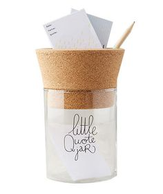 "Secret Santa Gifts Anyone Will Love | Matched with a coworker, friend, or family member who always knows what to say? Give them a special place to stash their favorite phrases and words of wisdom with this glass ""little quote jar."""