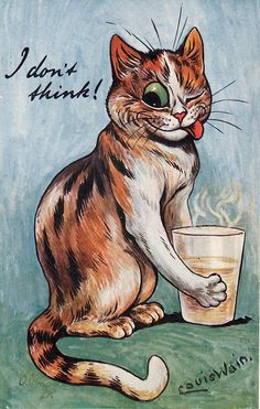 I DON'T THINK! Artist Louis Wain <>  from Taking The Harrogate Waters, Series III. Oilette, Printed in England, Raphael Tuck & Sons, <> Unused TUCK'S POST CARD