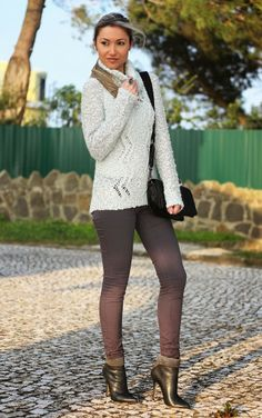 look do dia, ootd, outfit, silver sweater, guess, mango, hm, promod, look of the day, champagne, grey, shades of grey, tonalidades de cinzen...