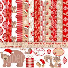 Christmas Digital Papers and Christmas by PaperHutDesigns on Etsy