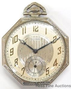 Cool Antique Art Deco Octagonal 18k Gold Filled Waltham Mens Pocket Watch #Waltham