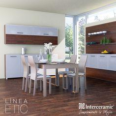 Combina los #muebles con el piso de tu #comedor, es una opción económica y los conviertes en el punto focal del espacio, recuerda no instalar tanto mobiliario porque pierdes espacio y profundidad. Línea Etic de #Interceramic, piso noche/rect mate.