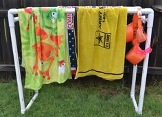 This Girls Life: DIY PVC Pool Towel Rack..maybe use as an outdoor clothes drying rack.