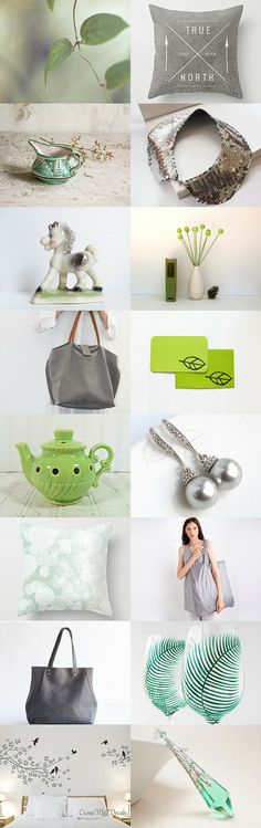 Grey and green by HILA SHARON on Etsy--Pinned with TreasuryPin.com