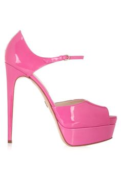 Brian Atwood Tribeca Patentleather Platform Sandals in Pink | Lyst #brianatwoodsandals