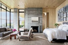 The sofa and bed in this Malibu, California, master suite are custom designs by Scott Mitchell and Denise Kuriger and are upholstered in de Le Cuona fabrics. | archdigest.com