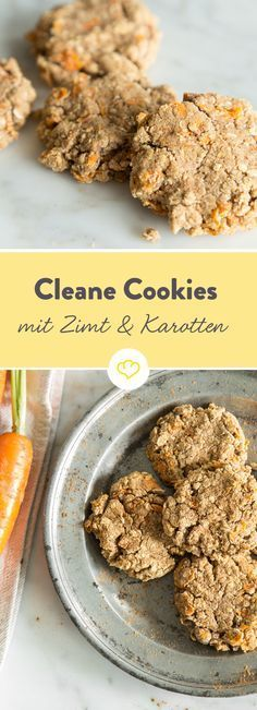 Clean Baking: Carrot and Cinnamon Cookies with Oatmeal- Clean Baking: Karotten-Zimt-Cookies mit Haferflocken Clean cinnamon and carrot cookies - Clean Eating Desserts, Healthy Dessert Recipes, Healthy Sweets, Clean Recipes, Cookie Recipes, Healthy Snacks, Clean Eating Cookies, Healthy Cookies, Brunch Recipes