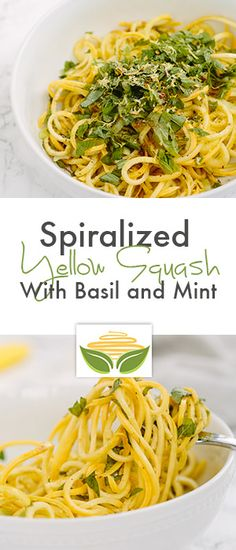Spiralized Yellow Squash with Basil and Mint Hope you enjoy the recipes from cooking magic Zoodle Recipes, Spiralizer Recipes, Vegetable Recipes, Vegetarian Recipes, Cooking Recipes, Vegetable Spiralizer, Healthy Food Blogs, Healthy Eating, Healthy Recipes