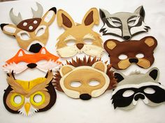 Children's Woodland Animals Felt Mask Super Combo of 8 Masks. $80.00, via Etsy.