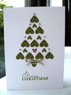 Homemade Christmas cards done by hand can make Christmas more traditional. While most people display their generic store-bought Christmas cards, yours will be sure to stand out. Here is a list of some creative homemade Christmas cards we've found. Simple Christmas Cards, Homemade Christmas Cards, Homemade Cards, Holiday Cards, Christmas Diy, Christmas Hearts, Merry Christmas, Funny Christmas, Christmas Trees