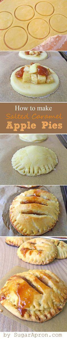 Individual Salted Caramel Apple Pies | www.sugarapron.com |