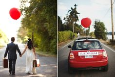 Blog da Maria. Casamento com balões. #casamento #balões #carrodosnoivos