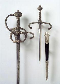 Dolch / Prunkwaffengarnitur bestehend aus Rapier und Doch mit Scheide Vermutlich Dresden. Anfang 17. Jahrhundert. Klinge: vermutlich Solingen.