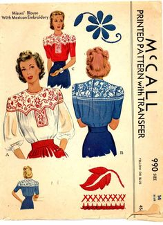 1940s sewing pattern makes a beautiful blouse with embroidered flowers. The pattern is dated 1942.