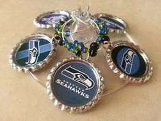 Theme Wine Charms gift Sets, Seattle Seahawks or PICK YOUR TEAM,
