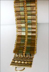 Free pattern: Woven Tiles Tila Bracelet. Learn how to weave a simple bracelet using two-hole beads.