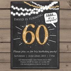 60th birthday invitation Gold Glitter by Anietillustration on Etsy