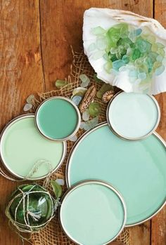 Sea Glass Inspired Decor…Bringing the Beach Indoors June 2013 Sara Silver . Home Design, Inspiration . beach bungalow, Beach Decor, paint color, sea glass Mermaid for my room? Celadon, Sea Glass Colors, Aqua Glass, Paint Color Schemes, Color Walls, Do It Yourself Home, Better Homes And Gardens, My New Room, Color Inspiration