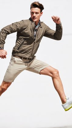 """Olive drab? More like olive fab! Khaki colors traditionally say """"I'm going out and getting things done today,"""" and that's something that hasn't changed! This dark khaki jacket over light khaki shorts combination from Bogner is the look of productivity."""