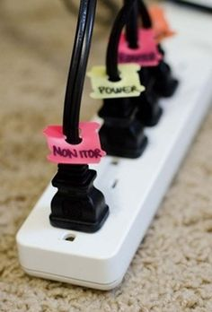 20 Genius Hacks that only require normal stuff from around the house like  Use bread ties to label your cords. - http://www.viralnova.com/simple-work-hacks/