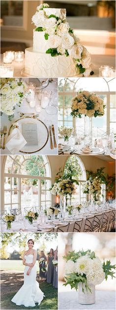 Featured Photographer: Sylvie Gil Photography; green and white wedding reception details